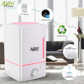 Allin Exporters DT-1618 Ultrasonic Diffuser & Humidifier Safe To Use With Essential oil- 1.5 Liters Tank Capacity