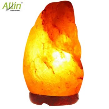 Allin Exporters Himalayan Rock Salt Lamp with Neem Wooden Base and 15W Pigmy Night Light Bulb - Natural Crystal Air Purifier Negative Ion Generator