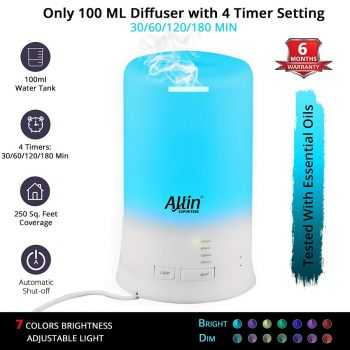 Allin Exporters DT-2109 Cool Mist Aroma Diffuser Ultrasonic Humidifier with 4 Timer Setting and 7 Color LED Lights (100 ML Tank Capacity)