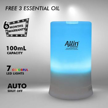 Allin Exporters DT-2109 100 ml Aroma Diffuser & Ultrasonic Humidifier with 3 Free 15ml Lavender, Peppermint and Cedarwood Oil