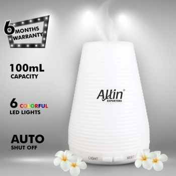 Allin Exporters DT-1508B 100ml 2 in 1 Ultrasonic Humidifier & Essential Oil Aroma Diffuser Cool Mist with 7 Color LED Lights