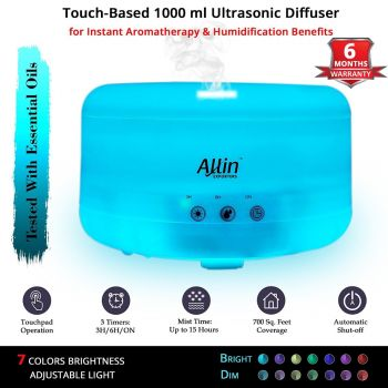 Allin Exporters DT-208 1000ml Touchpad Ultrasonic Humidifier & Essential Oil Aroma with Timer and 7 Colorful LED Light Modes