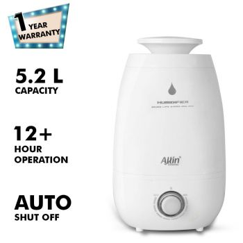 H-182 Cool Mist Ultrasonic Humidifier with Adjustable Mist and Waterless Auto-Off (5.2 L)