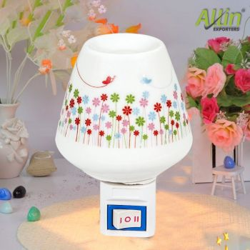 Pluggable Ceramic Oil Aroma Diffuser Burner Night Lamp (Colour May Vary)