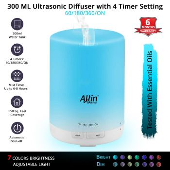 Allin Exporters DT-G03 Essential Oil Aroma Diffuser and Ultrasonic Humidifier with 3 Timer Setting & Colorful LED Lights (300 ML)