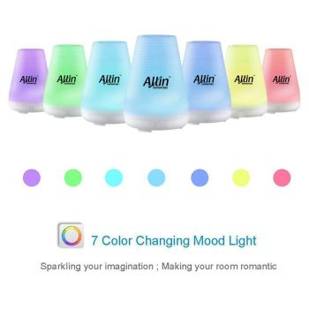 Allin Exporters Ultrasonic Diffuser Humidifier, 2 In 1 100 Ml Silent Cool Mist Electric For Use With Or Without Oils 6 Different Colored Led Lights -  (DT-1508B)