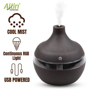 Allin Exporters PY002-BW 200 ml USB Mini Ultrasonic Humidifier Portable Essential Oil Aroma Diffuser with 3 LED Colors for Car, Office Cabin and Small Rooms (Brown Wooden)