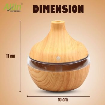 Allin Exporters PY002-LW 200 ml USB Mini Ultrasonic Humidifier Portable Essential Oil Aroma Diffuser with 3 LED Colors for Car, Office Cabin and Small Rooms (Light Wooden)