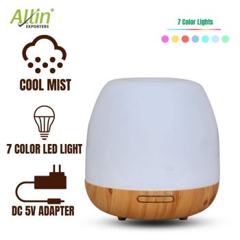 Allin Exporters 306-LW Ultrasonic Humidifier & Essential Oil Aroma Diffuser with Timer and 7 Colorful LED Light Modes (500 ml, Light Wood)
