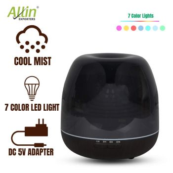 Allin Exporters 306-BW Ultrasonic Humidifier & Essential Oil Aroma Diffuser with Timer and 7 Colorful LED Light Modes (500 ml, Black Wood)