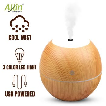 Allin Exporters PY045-LW 130 ml USB Mini Ultrasonic Humidifier Portable Essential Oil Aroma Diffuser with RGB LED Colors for Car, Office Cabin and Small Rooms