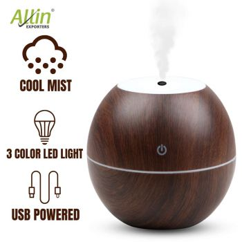 Allin Exporters PY045-BW 130 ml USB Mini Ultrasonic Humidifier Portable Essential Oil Aroma Diffuser with 3 LED Colors for Car, Office Cabin and Small Rooms