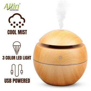Allin Exporters PY006-LW 130 ml USB Mini Ultrasonic Humidifier Portable Essential Oil Aroma Diffuser with 3 LED Colors for Car, Office Cabin and Small Rooms