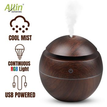 Allin Exporters PY006-BW 130 ml USB Mini Ultrasonic Humidifier Portable Essential Oil Aroma Diffuser with 3 LED Colors for Car, Office Cabin and Small Rooms